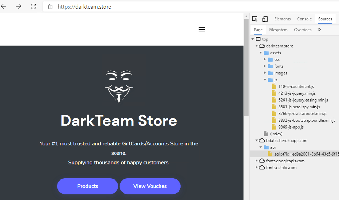 Figure 4: Browser enumeration and fingerprinting script on purported dark market site darkteam.store