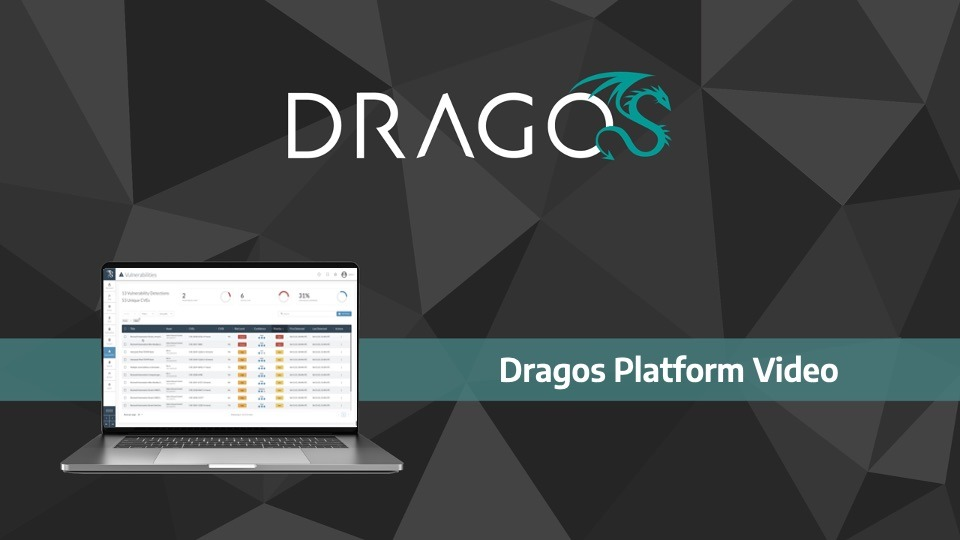 A cover graphic for the Dragos Platform v1.8. update with Vulnerability management