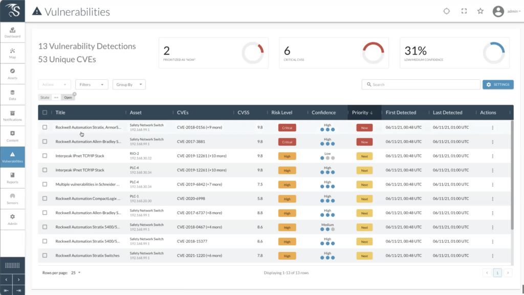Screen shot of the dragos platform with vulnerability management