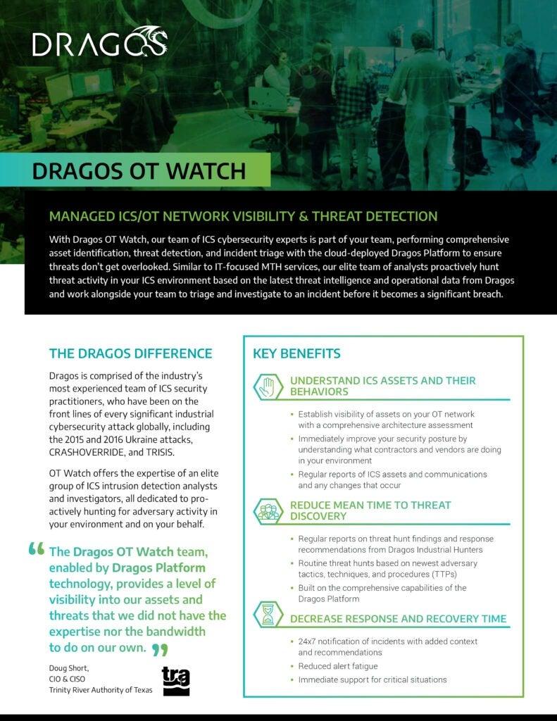Dragos OT Watch Datasheet Cover
