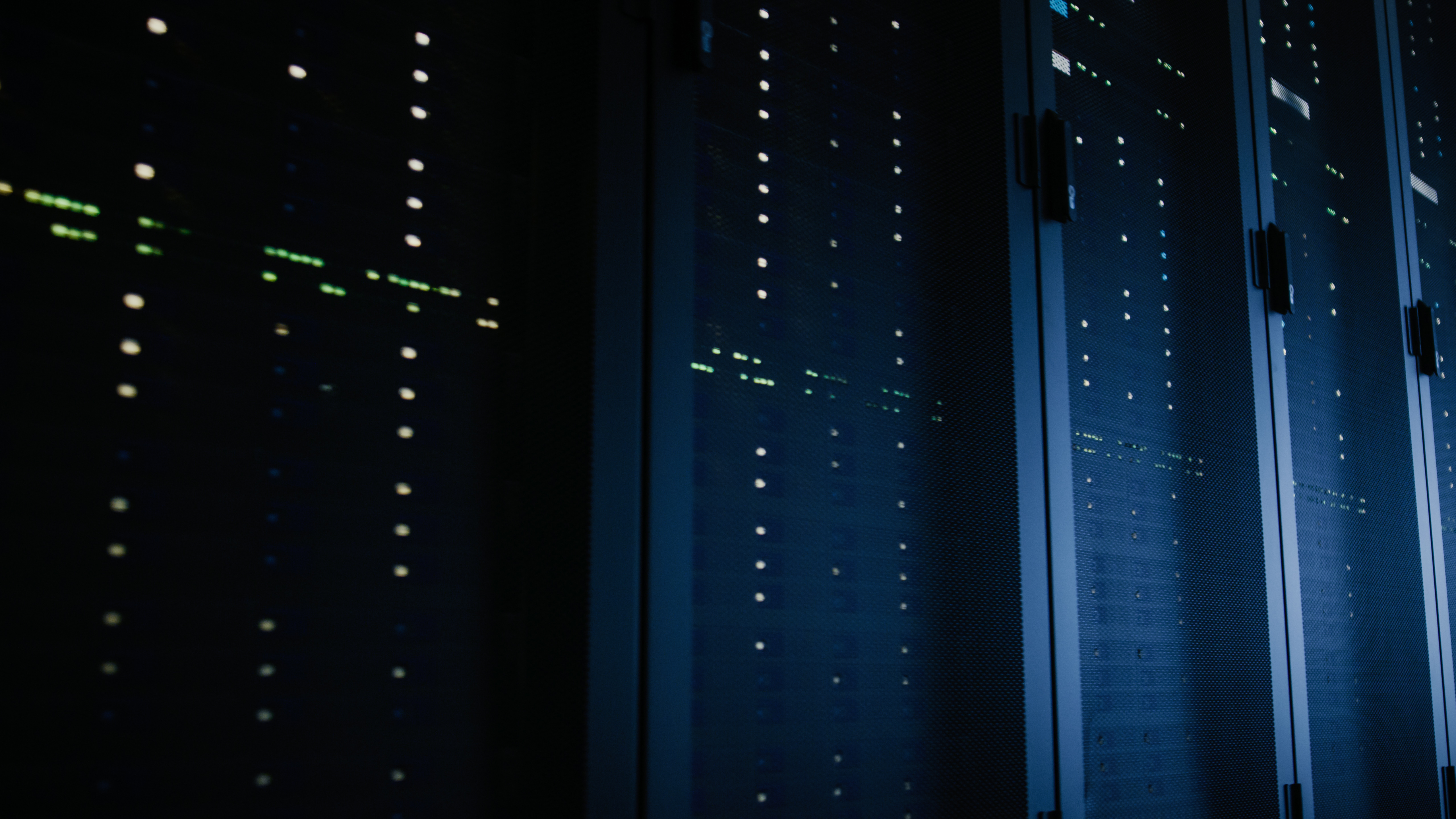 Close-Up Shot of Fully Operational Server Racks in Data Center. Modern Telecommunications, Cloud Computing, Artificial Intelligence, Database, Super Computer Technology Concept.